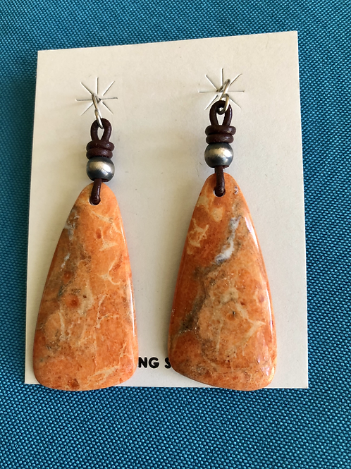 Orange spiny oyster slab earrings with leather and french wires