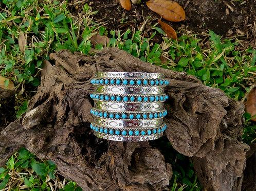 Sold- 4 row turquoise bead cuff by Navajo JP Ukestine $595.