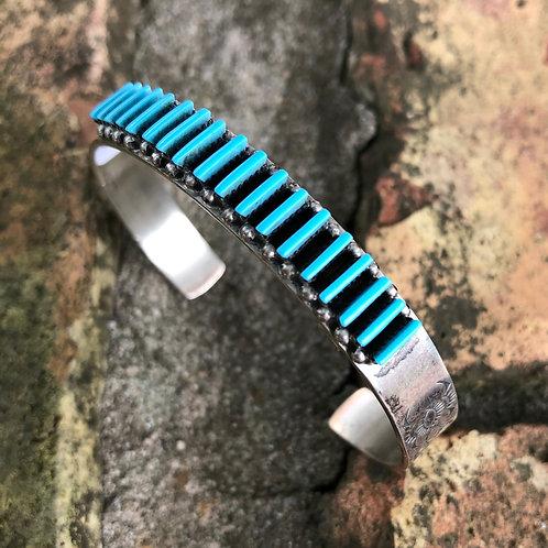Zuni turquoise needlepoint cuff #74