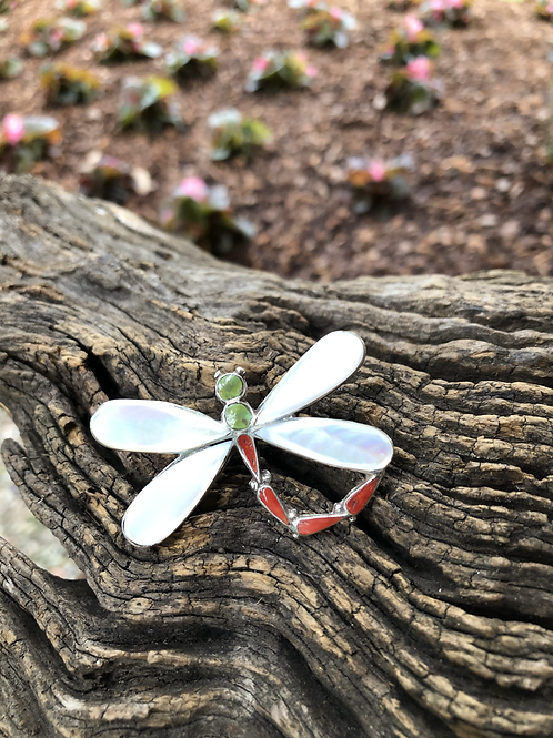 Mother of pearl, coral & turquoise dragonfly ring, Size 10, signed.