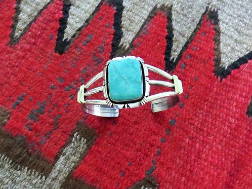 Turquoise single stone cuff