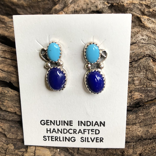 Turquoise and lapis stud earrings.