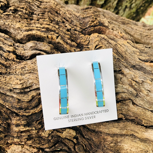 Zuni turquoise inlay hoops set into sterling silver.