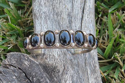 Vintage Navajo 7 stone black onyx bracelet