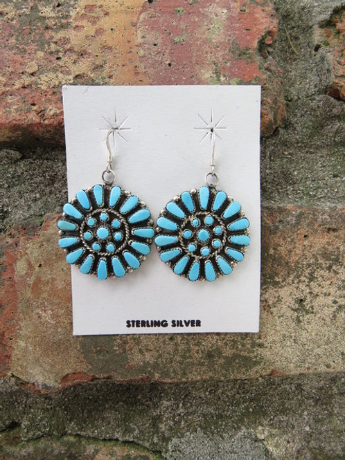Zuni turquoise earrings on french wires