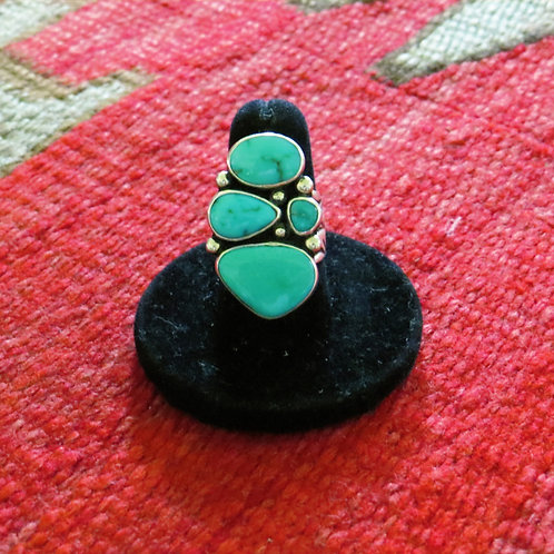 Sold- Turquoise 4 stone ring. Size 7.5 - 94R $275.