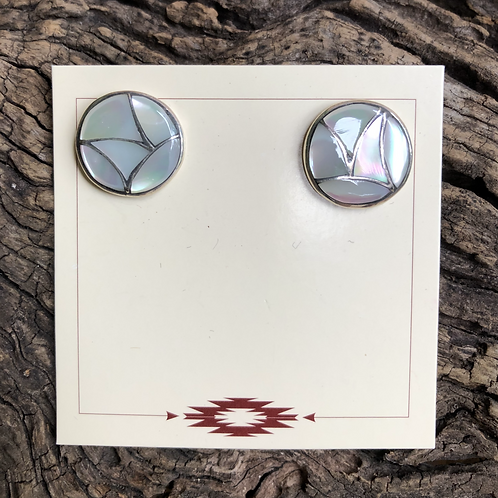Zuni mother of pearl inlay into sterling silver stud earrings.