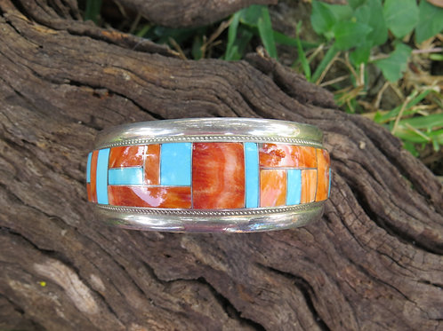 Sold- Zuni turquoise & spiny oyster channel inlay cuff. $300.