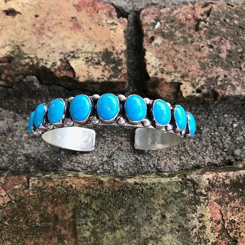 Nine stone turquoise cuff #69