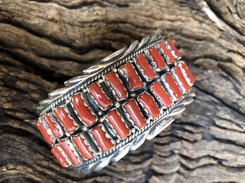 Two row Mediterranean blood red coral cuff set into sterling silver by Marie B.