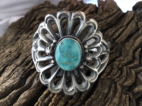 Navajo sterling silver scalloped cut out cuff with turquoise stone, signed