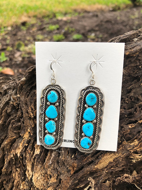 Navajo sterling silver dangles with 4 turquoise stones by Julia Etsitty