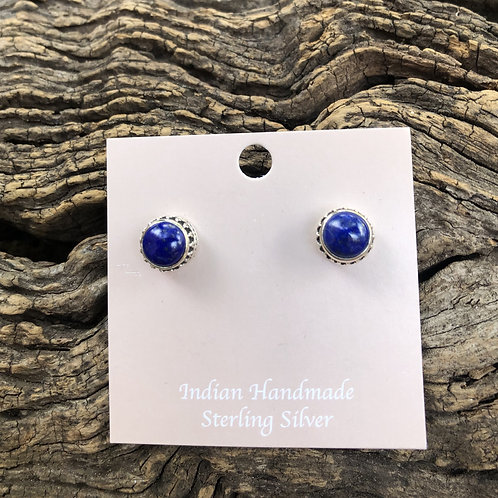 Lapis stud earrings set into intricate cut design sterling silver.