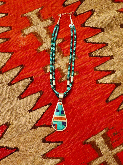 2 strand turquoise rondelle bead necklace with multi-stone inlay pendant