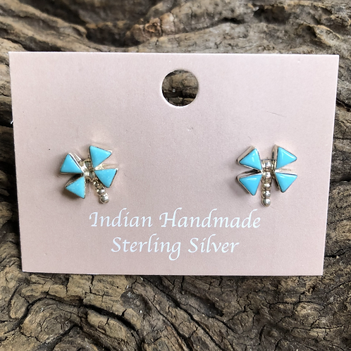 Turquoise dragonfly stud earrings by D. Natewa