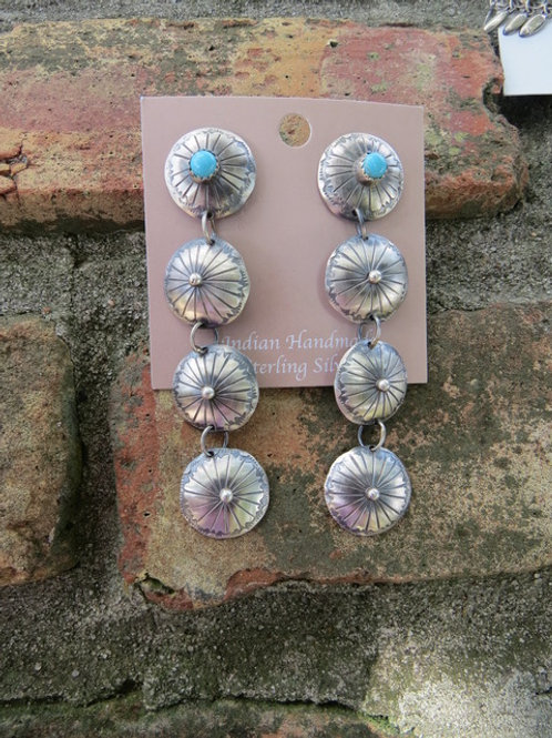 Silver stamped concho dangle earrings with turquoise by Tim Yazzie
