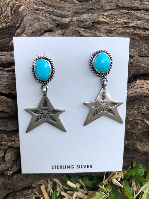 Turquoise stud earrings with star dangles
