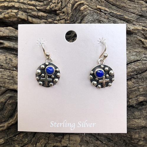 Sterling silver lapis and cross dangle earrings, signed