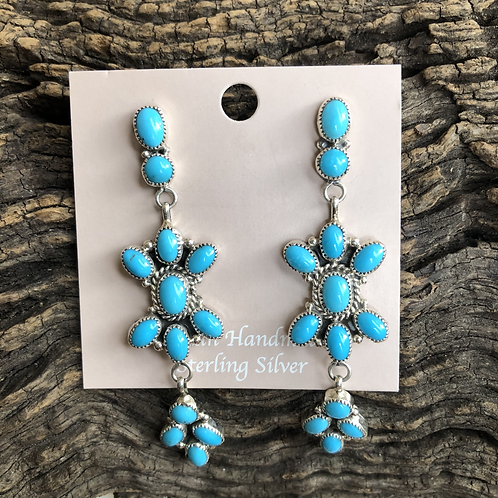 Turquoise cluster dangles set in sterling silverby Anna Spencer, Navajo
