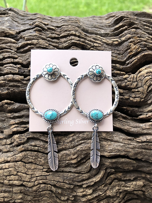 Sterling silver hand stamped hoops with turquoise stone and feather dangles.