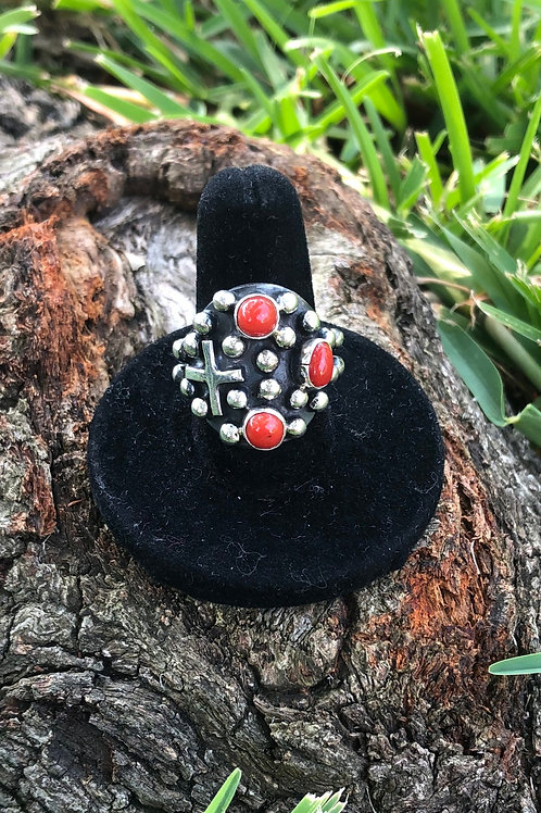 Coral cross ring size 7.5 - 13R