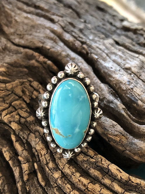 Navajo sterling silver turquoise ring, signed by the artist. Sz.8.75