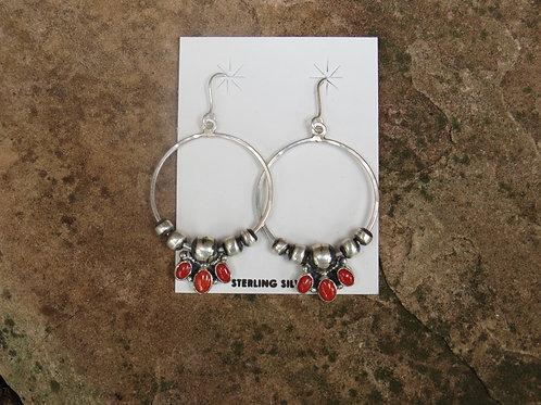 Navajo pearl and coral hoop earrings by Don Lucas