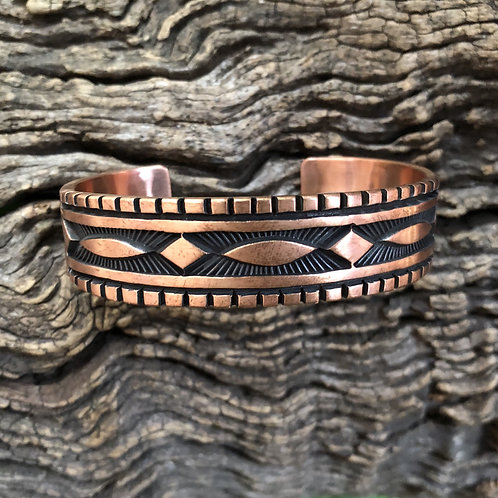 Sold- Mans copper cuff with intricate stamping by Navajo Jerrold Take $147.