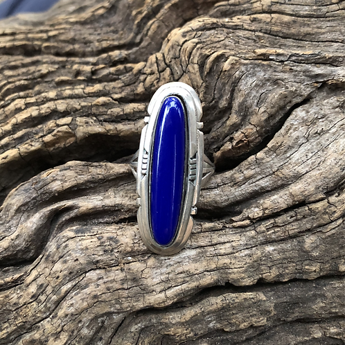 Beautiful lapis stone set into sterling silver hand made bezel, Size 8