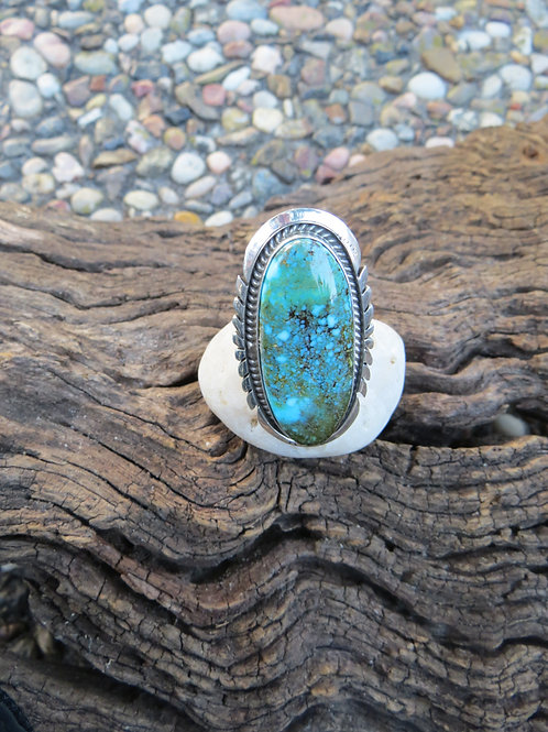 SOLD: Navajo sterling silver turquoise ring by Alfred Martinez $250