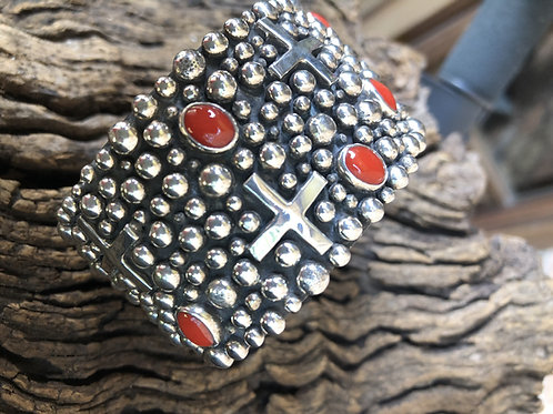 Sterling silver cuff with Mediterranean blood red coral stones, Navajo A.Douglas