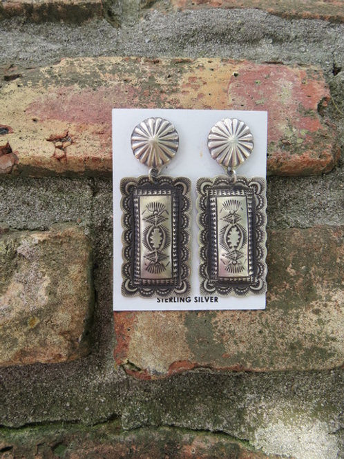 Navajo sterling silver etched earrings $120.
