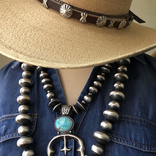 Sterling silver hand stamped hat band by Ryan Begay, Navajo