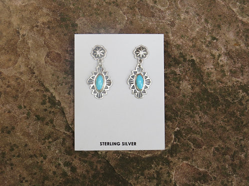 SOLD: Silver with turquoise earrings by Don Lucas $86