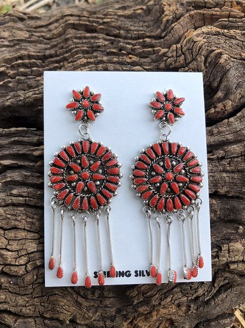 Zuni red coral petit point earrings with dangles