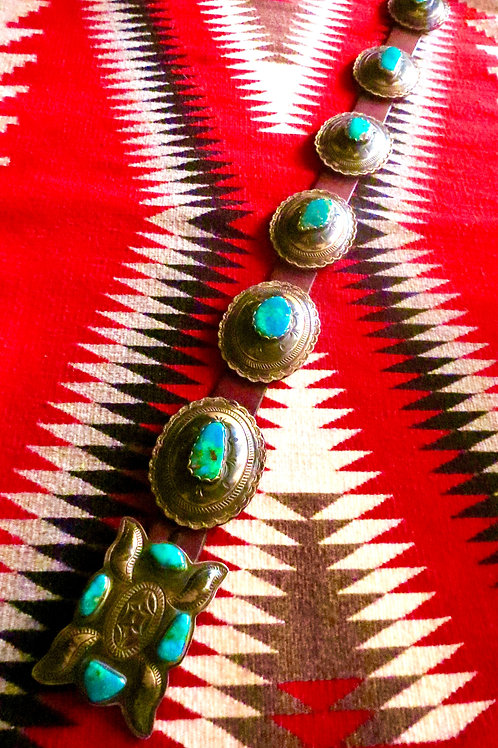 Sold Navajo Vintage Concho Belt with turquoise stones $7900.