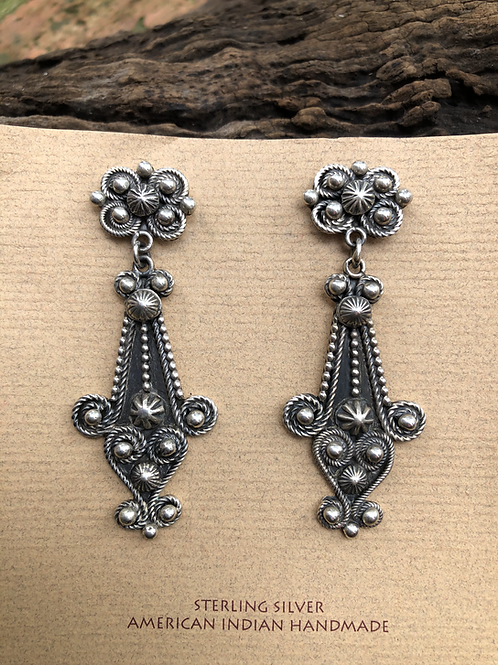 Intricate sterling silver dangles, signed Geneva G.A, Navajo