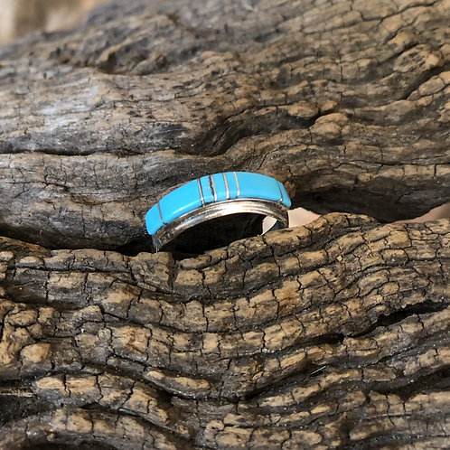 Traditional Zuni turquoise inlay band set into sterling silver Sz. 9