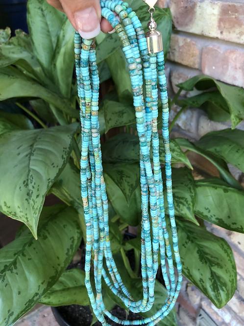 "Sold- 60"" three strand Royston & Kingman turquoise necklace. $1995."