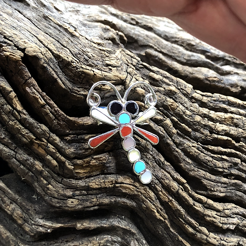 Zuni inlay multi stone dragonfly set into sterling silver.
