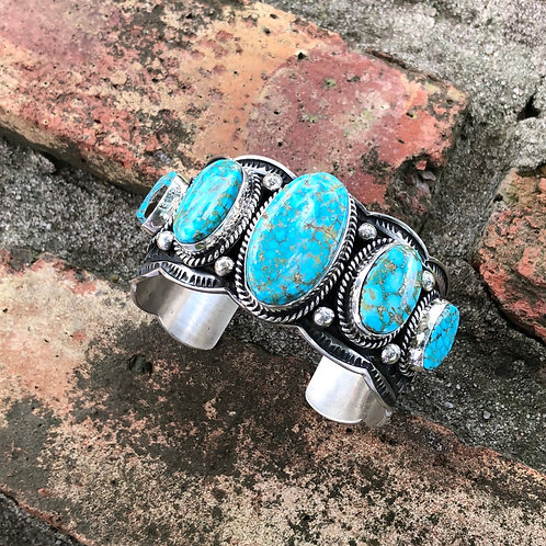 Five stone turquoise cuff #23