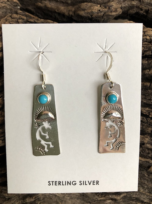 Sterling silver dancers with Kingman turquoise stones by Navajo Jeff James