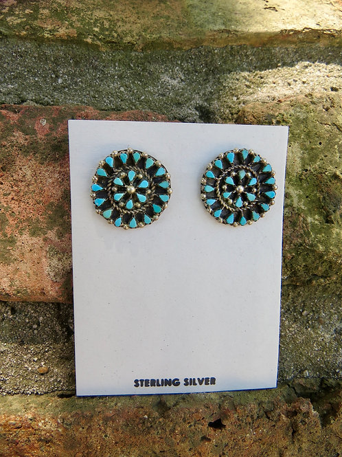 Zuni turquoise petit point clip-on earrings