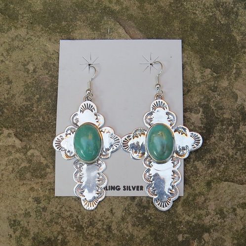 Sold- Navajo silver earrings with turquoise stones $105.