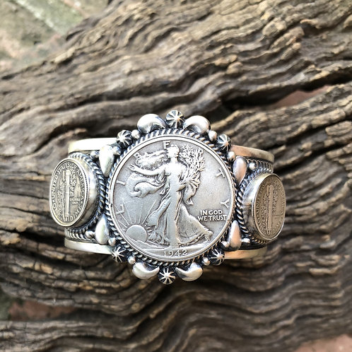 Walking Lady Liberty 1942 coin cuff with Mercury dimes set into sterling silver.