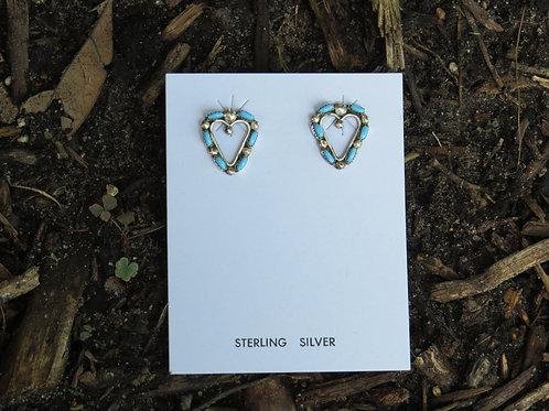 Zuni heart-shape turquoise earrings