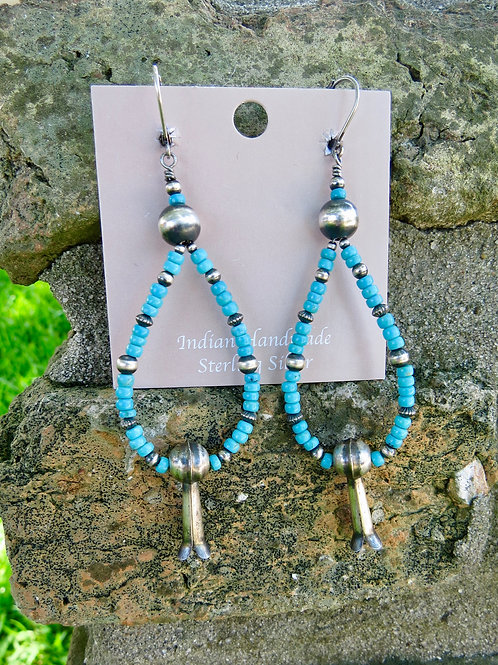 SOLD: Turquoise bead and silver squash blossom dangle earrings $130