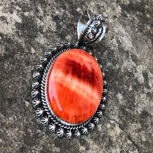 Large spiny oyster shell pendant.  12P