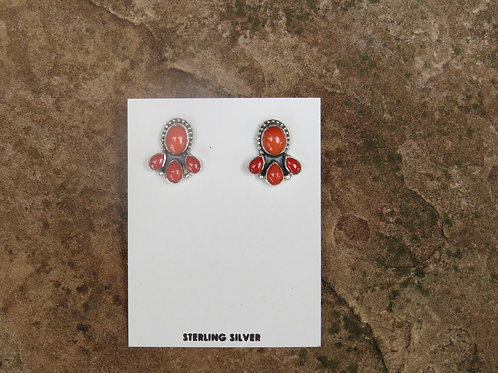 Coral and Spiny Oyster Shell earrings by Don Lucas