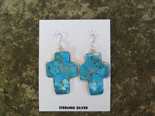 Turquoise cross earrings by Veronica Tortalita